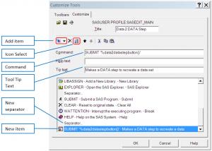 Toolbar Customize Dialog Box