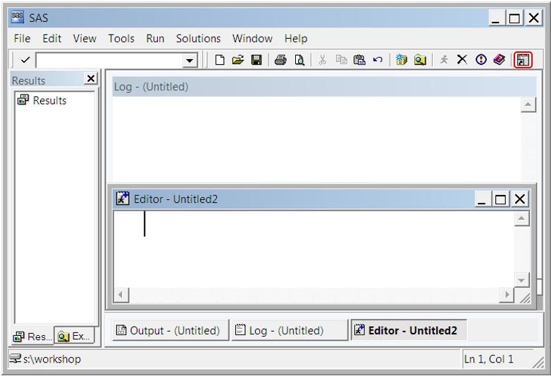 New toolbar button on the SAS window toolbar