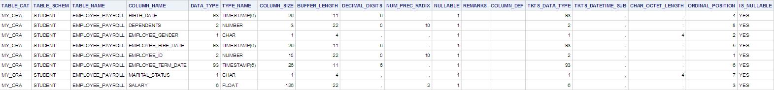 PROC FedSQL Dictionary.Columns query output