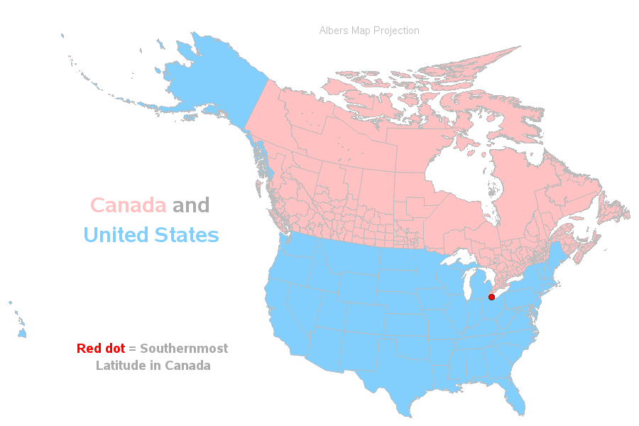 Map Of Canada And The States.So 27 Us States Are Farther North Than Canada Eh Sas Learning Post