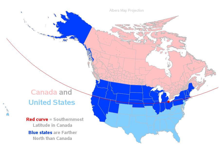 Use States Map.So 27 Us States Are Farther North Than Canada Eh Sas Learning Post