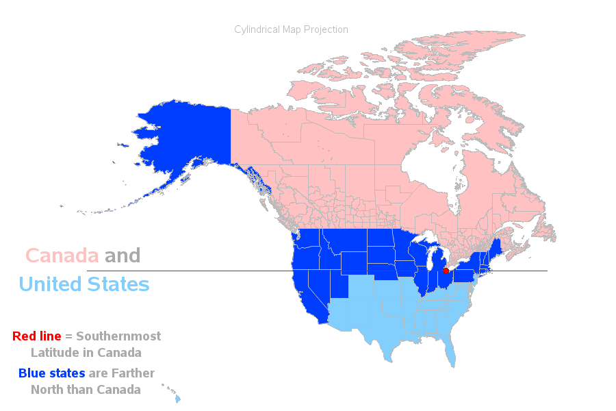 So 27 Us States Are Farther North Than Canada Eh Sas Learning Post - Map-of-southern-canada-and-northern-us