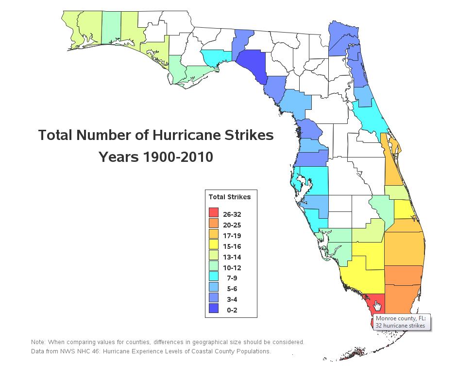 Hurricane Risk Map Florida.Where Do Hurricanes Strike Florida 110 Years Of Data Sas