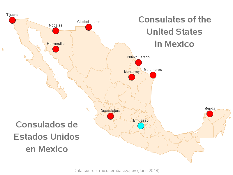 Map Of Us Consulates In Mexico Coming to America  from Mexico   SAS Learning Post