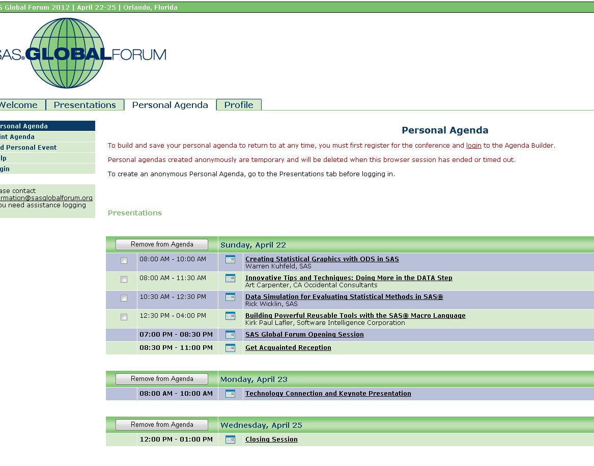 Unofficial Official Guide to SAS Global Forum – Make the Agenda ...
