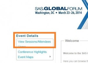 Screen capture of home page with View Session/Attendees selection highlighted