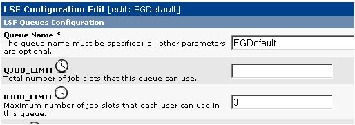 Figure 3.  Set job limits in an EGDefault queue.