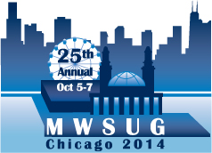 MWSUG 2014 logo showing Chicago skyline and 25th anniversary banner