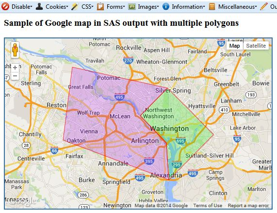 Google map generated in SAS with clickable areas