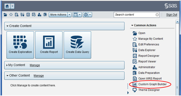 Open the Custom Graph Builder in SAS Visual Analytics