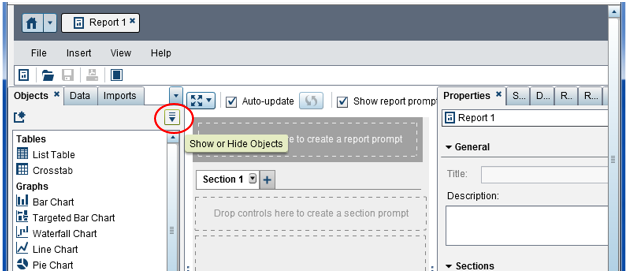 Click on Show or Hide Objects in SAS VA Reports Designer