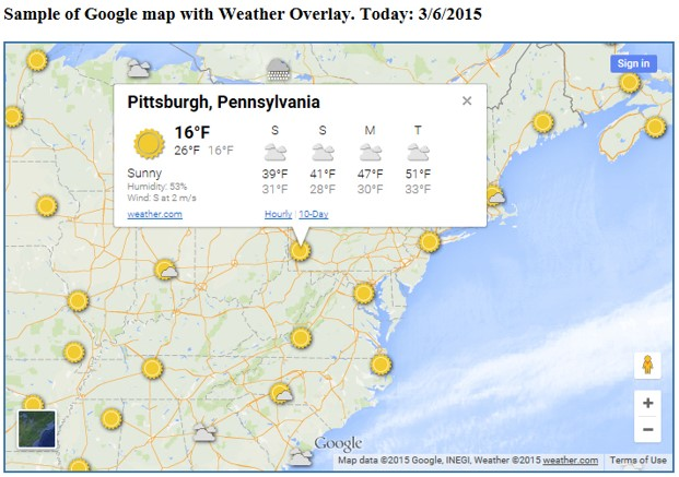 Weather forecasting with SAS-generated Google maps