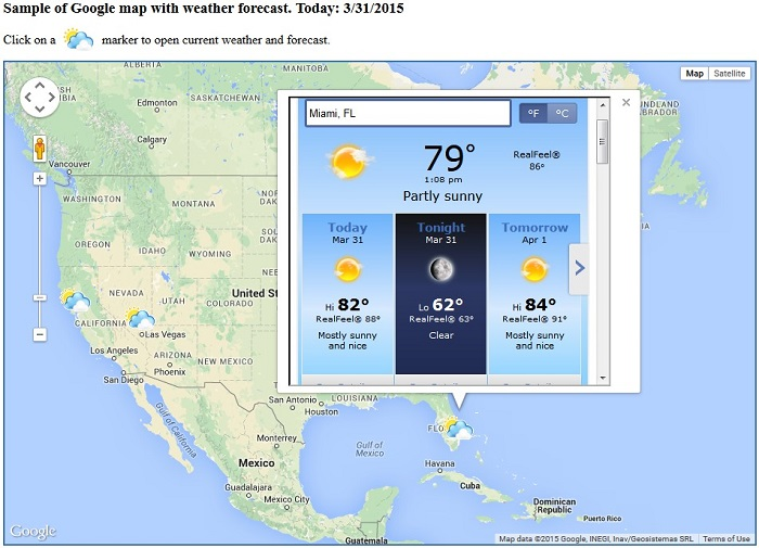 Weather forecasting with sas generated google maps weather overlay using accuweather feed gumiabroncs Choice Image