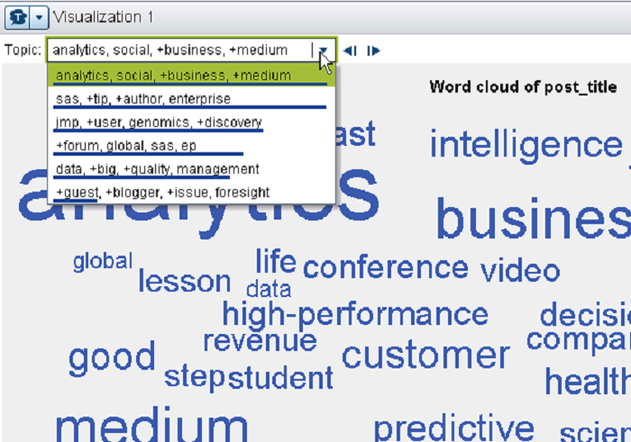 Word cloud in SAS Visual Analytics