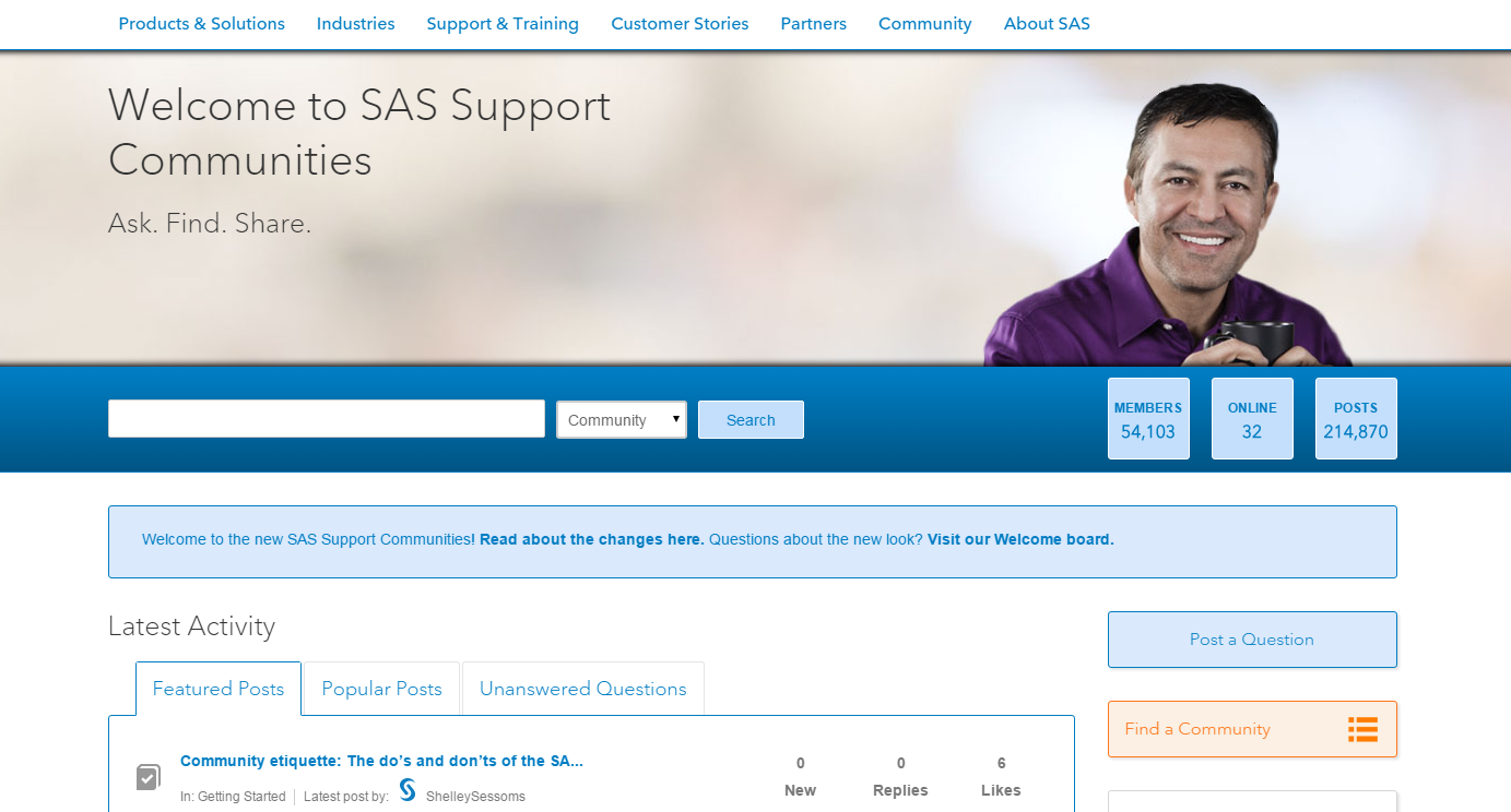 SAS Support Communities