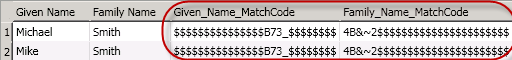 Match Code (Parsed) Node Results
