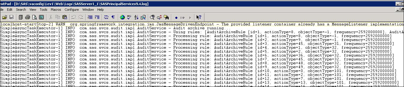 Visual Analytics audit data archiving3