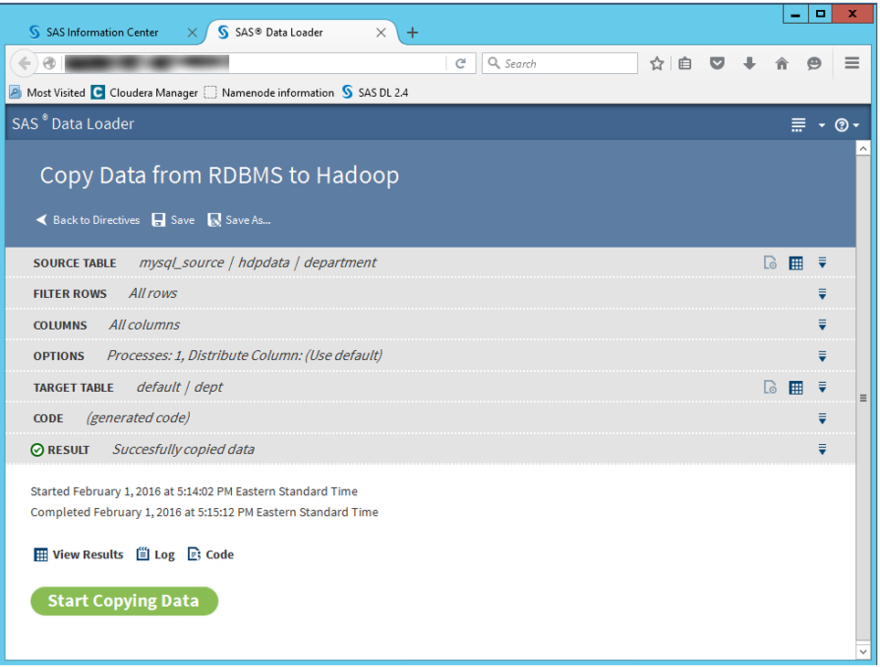 Copy data to Hadoop using SAS2
