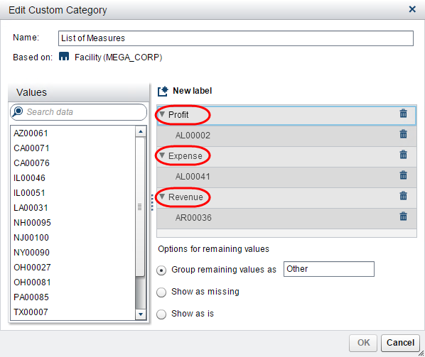 parameters to pick your metric in Visual Analytics Reports3