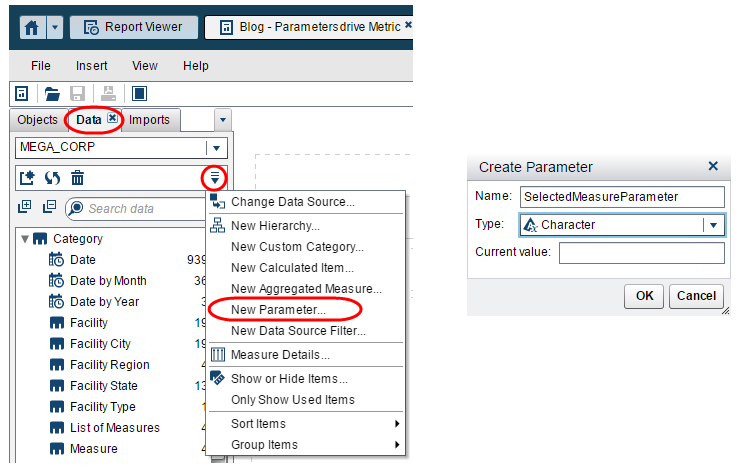 parameters to pick your metric in Visual Analytics Reports4