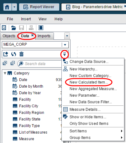 parameters to pick your metric in Visual Analytics Reports5
