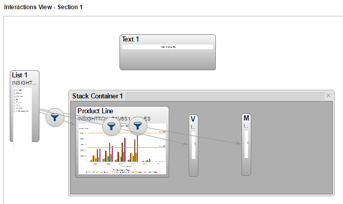 Use a stack container to pick your category in Visual Analytics06