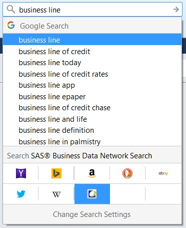 Conduct a google-like web search for business terms with SAS Business Data Network5