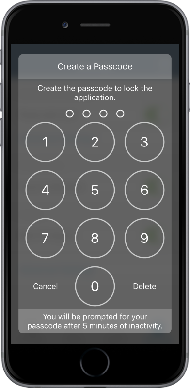 Passcode security for SAS Mobile BI01
