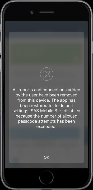 Passcode security for SAS Mobile BI05