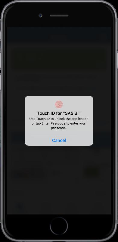 Passcode security for SAS Mobile BI06