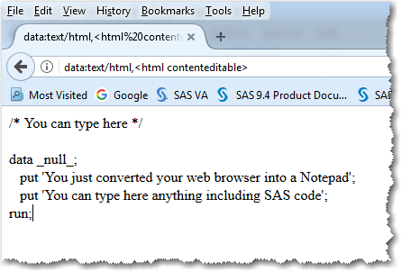 Using web browser as SAS code editor