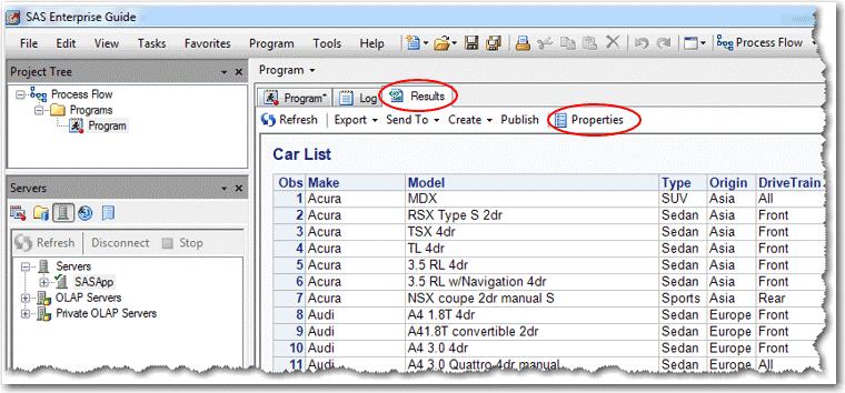 Results tab in SAS EG