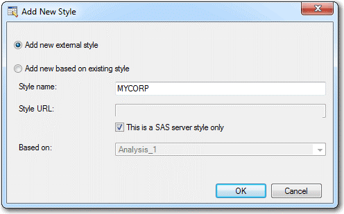Checking This is a SAS server style only checkbox