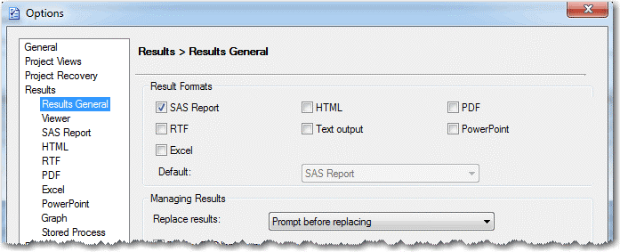 Options window to choose default EG report format