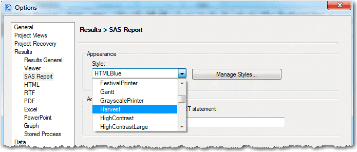 Select new report style