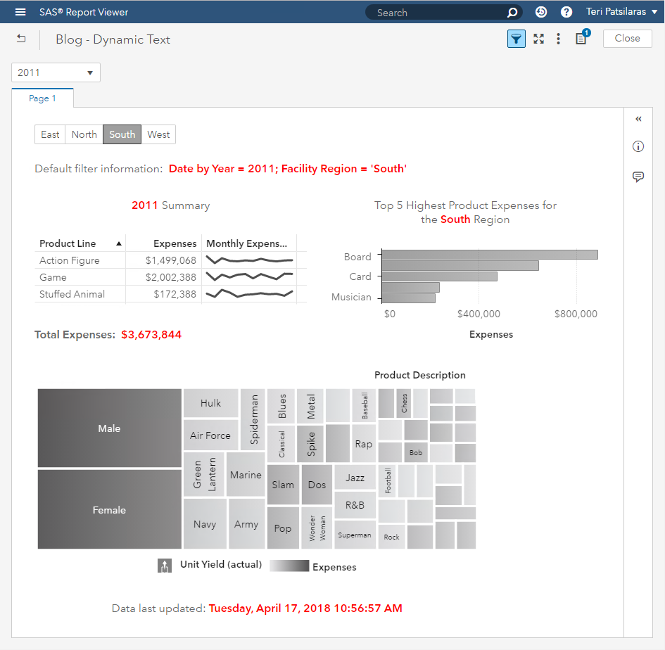 Dynamic Text in a SAS Visual Analytics Report