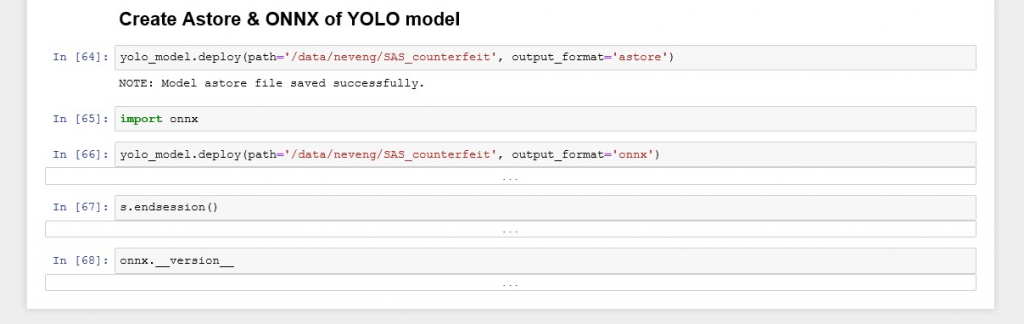 Astore and ONNX of YOLO model