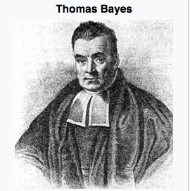 A black and white portrait of Thomas Bayes in a black robe with a white collar.