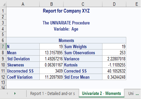 Report for Company XYZ
