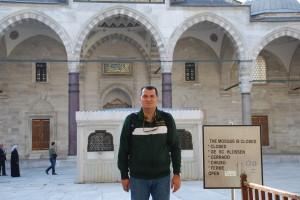 Bahadir Aral (PhD in Industrial and Systems Engineering from Texas A&M University), in front of the Süleymaniye Mosque in Istanbul.