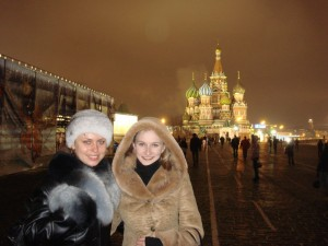Natalia Viktorovna Summerville in front of St. Basil's Cathedral on Red Square in Moscow.