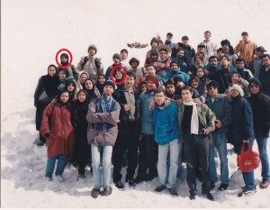 Left circle, Zohreh Asgharzadeh, and right circle, Shahrzad Azizzadeh, at Sangan Waterfall, northwest of Tehran, with classmates from their Sharif University of Technology Industrial Engineering class.
