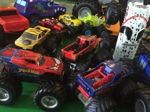 lots of monster trucks