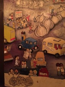 Mural from the wall of the Stinking Rose restaurant
