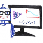 line drawing of robot beside a computer model