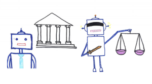 line drawing of robot holding the scales of justice