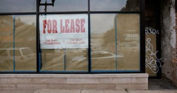 for lease sign on a storefront