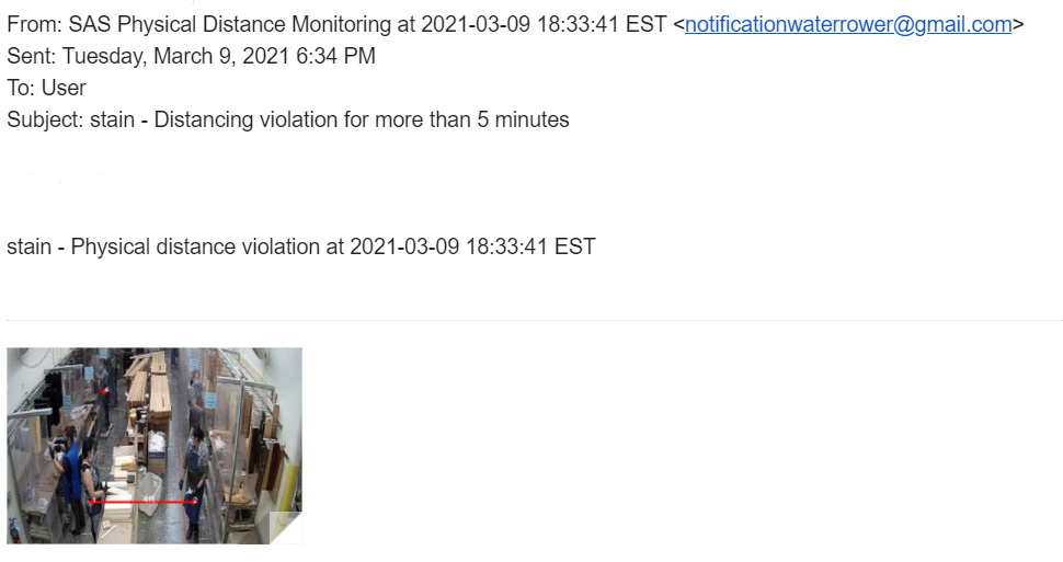 Figure 2: Physical distance monitoring - Example of violation e-mail notification
