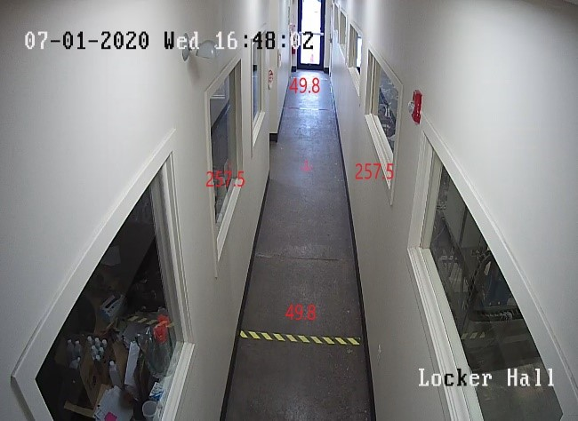 Figure 6(a): Physical Distancing Monitoring - Hallway footage