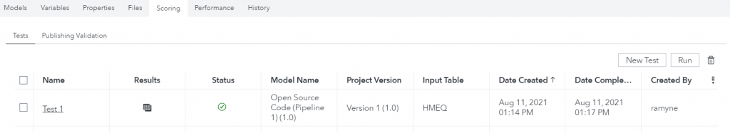 machine learning pipelines using SAS and Python - figure 4 test status and results in SAS Model Manager